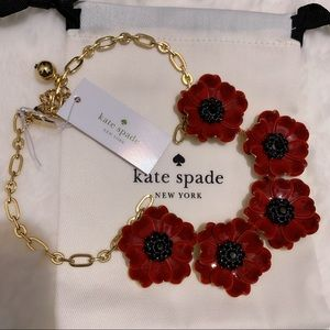 Kate Spade Red Floral Statement Necklace